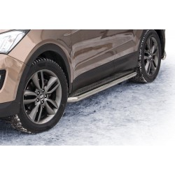 Marchepieds Hyundai Santa-Fe (2012 -) - Plat Avec Plaque Anti Dérapante