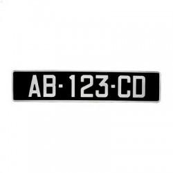 Plaque d'immatriculation noire voiture de collection