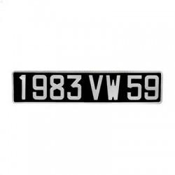 Plaque d'immatriculation noire voiture de collection (ancienne immat)