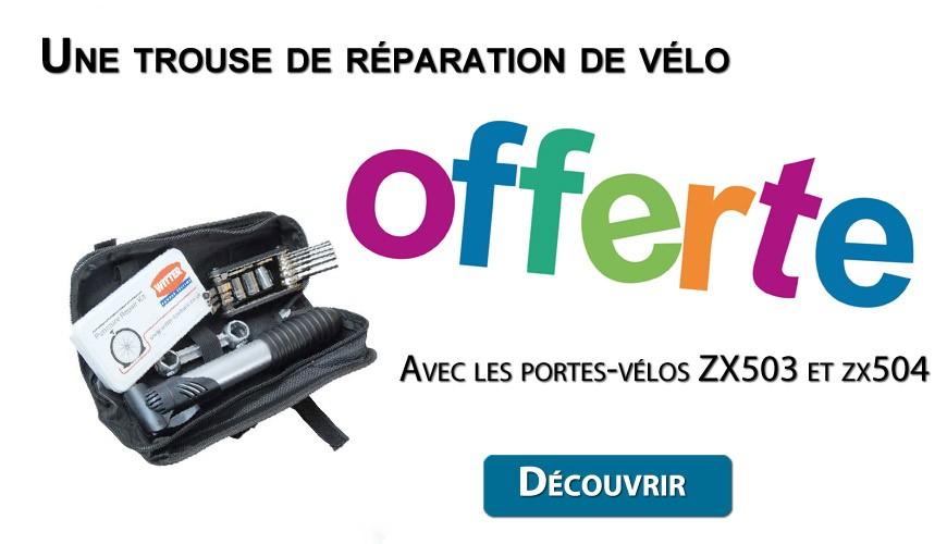 OFFRE EXCEPTIONNEL Trousse de réparation de vélos offert avec les porte-vélos ZX503 et ZX504